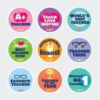 Schullabels für Lehrer und Motivations-Slogans vektor