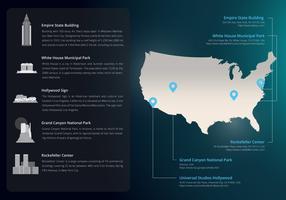 USA-Markstein-Karten-UI-Reise-Schablone vektor