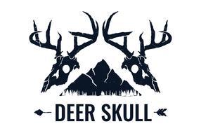 Handgezeichnete Twin Deer Skull