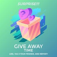Överraskning Instagram Ge bort Konkurrensmallvektor