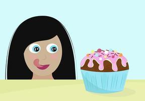 Keine Diät Tag Vektor-Illustration junge Frau will den Cupcake mit Appetit und Vergnügen essen vektor