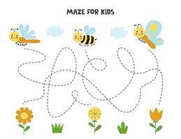 Labyrinth mit niedlichen Schmetterlingsbienenlibelle und Blumen logisches Spiel für Kinder vektor