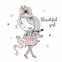 süßes schönes Mädchen kämmt ihren Haarvektor vektor