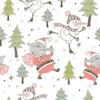 fröhliche Schneemann Eislaufen Weihnachtskarte Vektor