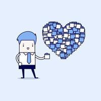 Geschäftsmann mit Herzform Haftnotizen vektor