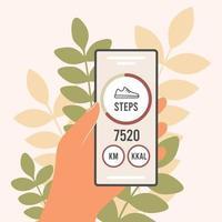 Schrittzähler in einem Mobiltelefon. Eine Anwendung, die Schritte zählt und Ihren Gehfortschritt verfolgt vektor