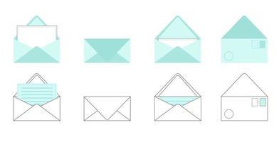 Umschläge setzen Postkarten und Buchstaben innerhalb des geöffneten und geschlossenen Umschlags, der auf Vektorillustration der weißen Vorder- und Rückansicht des Hintergrunds isoliert wird vektor