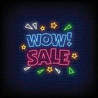 Wow Verkauf Leuchtreklamen Stil Text Vektor