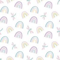 niedliches nahtloses Muster des Regenbogens und der Libelle. skandinavisches Muster in gedeckten Pastellfarben. handgezeichnete Vektorillustration. Design für Textilien, Verpackungen, Verpackungen vektor