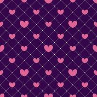 rosa Herzen auf einem dunklen Netzhintergrund nahtloses Muster. Valentinstag Design, Einladungskarten, Geschenkpapier, Textilien, Hochzeitsdekorationen. Vektor