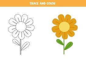 Spur und Farbe niedlichen Blumenarbeitsblatt für Kinder vektor