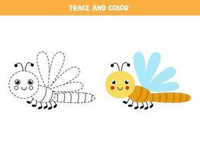 Spur und Farbe niedlichen Libelle Arbeitsblatt für Kinder vektor