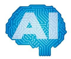 künstliche Intelligenzvektorsymbolillustration lokalisiert auf einem weißen Hintergrund vektor