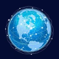 globale Netzwerksystemvektor-Konzeptillustration auf einem dunklen Hintergrund vektor