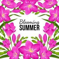 Blumenhintergrund mit lila Freesien vektor
