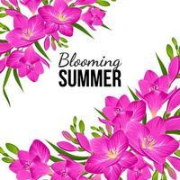 weißes Banner mit lila Blumen in den Ecken vektor