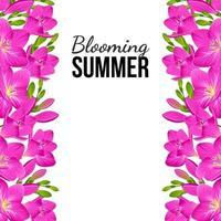 weißes Banner mit lila Blumen an den Rändern vektor