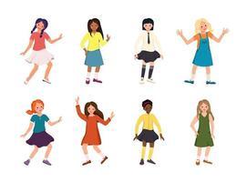 Mädchen oder Jugendliche verschiedener Nationalitäten mit dunkelroten und blonden Haaren glückliche Kinder mit Gesichtern und Lächeln in Hemden Röcken und Kleidern schwarz und hellhäutig Menschen vektor