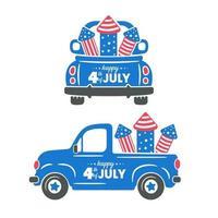 4. Juli ein Lastwagen mit Raketen, um am Unabhängigkeitstag ein Feuerwerk mit amerikanischer Flagge abzuschießen vektor