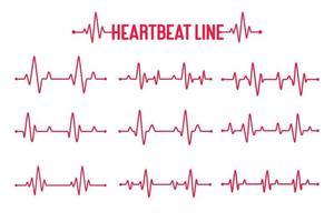 Herzschlag-Graph-Vektor-Set-Konzept, Patienten zu helfen und für die Gesundheit zu trainieren vektor