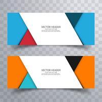 Abstrakter Fahnensatzdesignhintergrund oder Titelschablonen vektor
