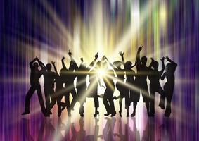 Silhouette einer Party-Menge auf Starburst-Hintergrund vektor