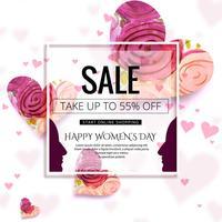Lycklig Kvinnorsdag firande försäljning bakgrunds illustration
