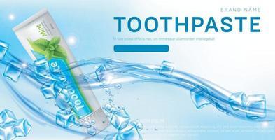 Zahnpasta Anzeigen Werbewerbung Poster von frischen gesunden Zahnschutz Minze Zahnpasta Vektor-Illustration realistische Vektor Eps 10