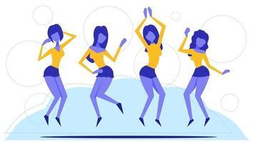 Gruppe junger freudiger springender und tanzender Menschen mit erhobenen Händen vektor
