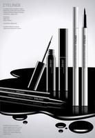 kosmetischer Eyeliner mit Verpackungsplakatdesignvektorillustration vektor