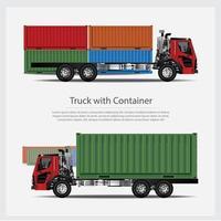 LKW-Transport mit Containerset vektor