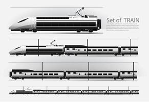 Hochgeschwindigkeitszug auf einem Schienenstraßenvektorillustrationssatz vektor