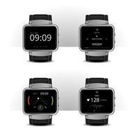 Smartwatch mit Vektorillustration des Digitalanzeigesatzes vektor