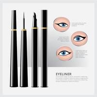Eyeliner-Verpackung mit verschiedenen Arten von Augen Make-up vektor