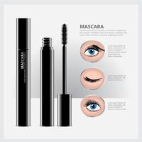 Mascara-Verpackung mit Augen Make-up vektor