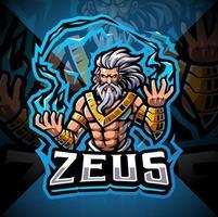 Zeus Esport Maskottchen Logo Design vektor