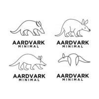 einfache Menge abstrakte minimale Mono Linie schwarz Erdferkel Vektor Logo Design