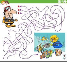 Labyrinthspiel mit Cartoon-Taucher und tropischem Fisch vektor