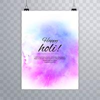 Glückliches Holi-Festival bunte Aquarelle boli des Broschürenbroschüre-Spritzens vektor