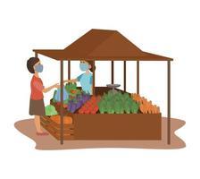 ein Verkäufer von frischem Gemüse und ein Käufer, die eine Gesichtsmaske tragen, um die Ausbreitung des Coronavirus auf dem traditionellen Markt zu verhindern vektor