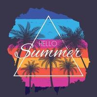 schöne palmenblatt silhouette hallo sommerhintergrund vektor