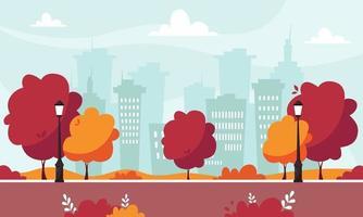 Herbstpark mit Straßenlaternenbäumen und Büschen auf Stadthintergrund vektor