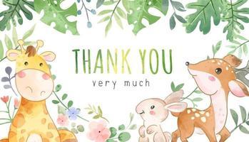 danke Banner Zeichen mit wilden Tierfreunden Karikaturillustration vektor