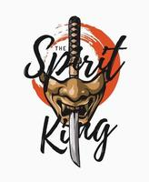 der Geistkönigsslogan mit japanischer Halbmaske und Samuraischwertillustration vektor