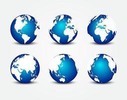 alle Seiten des blauen Planeten rund um die Welt Erdschutzkonzept vektor