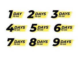 Countdown links Tage Label Count Time Verkauf vektor
