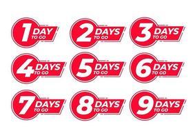 Countdown links Tage Etikett vektor