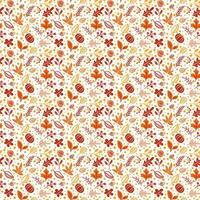 nahtloses Muster mit Eicheln, Kürbis und Herbst Eichenblättern in Orange und Braun. Perfekt für Tapeten, Geschenkpapier, Musterfüllungen, Webseitenhintergrund, Herbstgrußkarten vektor