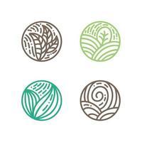 Satz runde Bio-Embleme in einem kreisförmigen linearen Stil. Logo der grünen Blätter der tropischen Pflanze. Vektor abstrakte Abzeichen für die Gestaltung von Naturprodukten, Blumenladen, Kosmetik, Ökologiekonzepten, Gesundheit, Spa