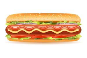 Hot Dog Brötchen Wurst Vektor-Illustration lokalisiert auf weißem Hintergrund vektor